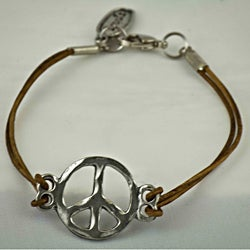 Pewter Leather 'Peace Symbol' Bracelet