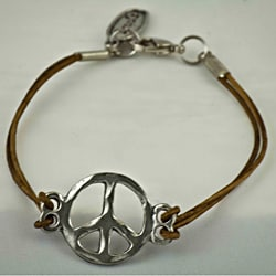 Pewter Leather 'Peace Symbol' Bracelet