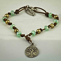 Praols Story Bracelets Antiqued Charm 'Tree of Life' Leather Bracelet