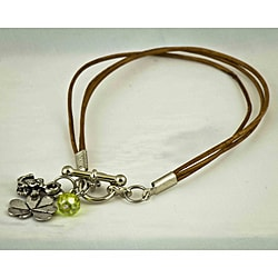 Antiqued 'Life's Voyages' Glass Bead Leather Bracelet
