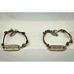 Praols Story Bracelets Antiqued Pewter Leather 'Serenity' Plaque Bracelet