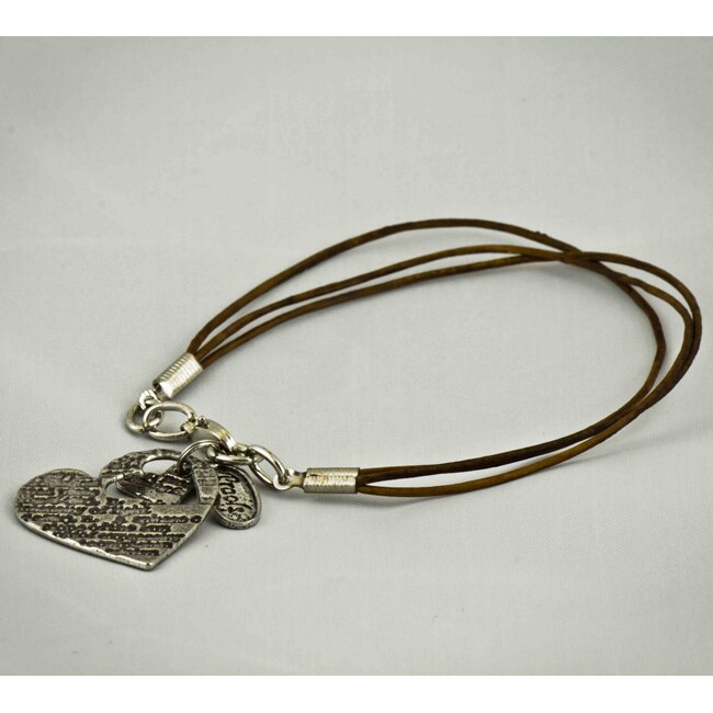 Antiqued Pewter 'In My Heart' Leather Bracelet