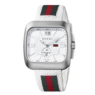 Gucci Men's 'Coupe' White Leather Strap Watch