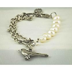 Praols Story Bracelets Freshwater Pearl Bird Charm Bracelet