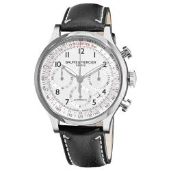 Baume & Mercier Men's 'Capeland' Automatic Chronograph Watch with Black Leather Strap