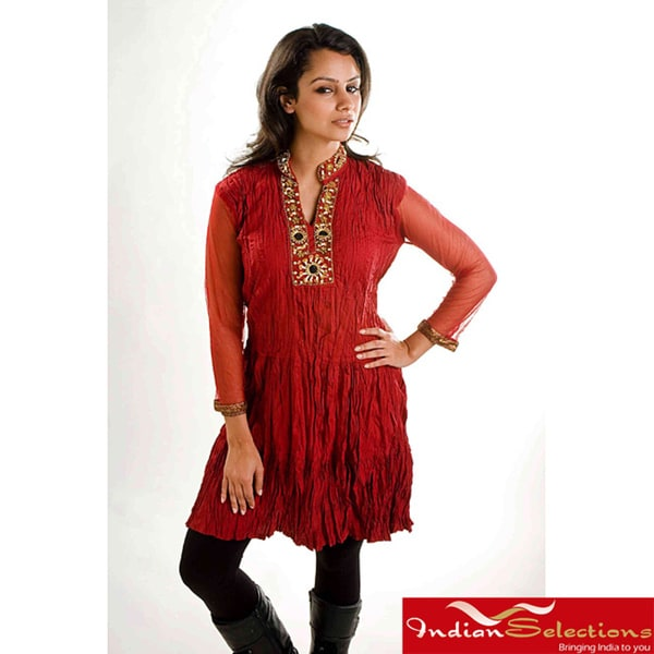 Red Crepe Crushed Kurti Tunic with Golden Neckline (India)