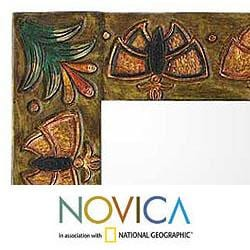 Leather 'Bronze Butterflies' Mirror (Peru)