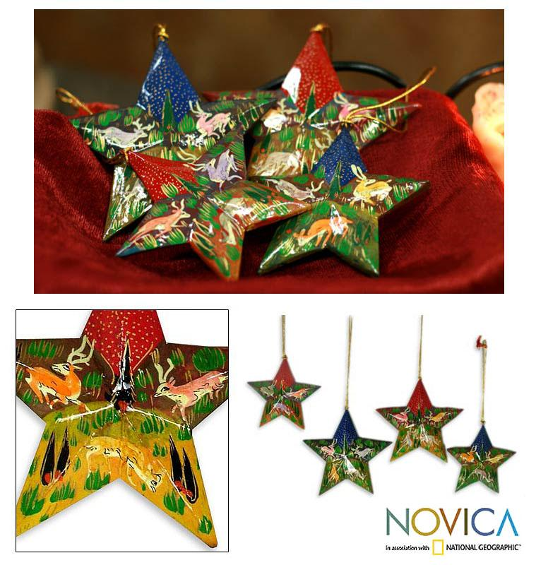 Set of 4 Weeping Willow Wood 'Reindeer Garden' Ornaments (India)
