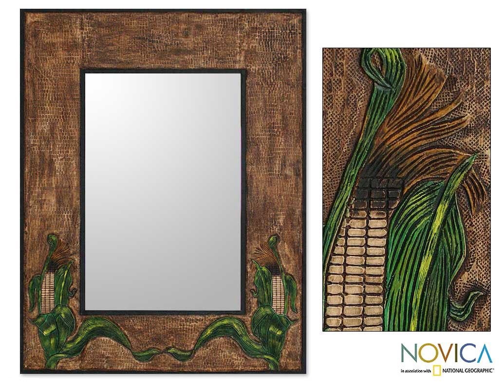 Leather 'Inca Corn' Mirror (Peru)