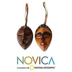 Set of 4 Sese Wood 'Celebration Masks' Ornaments (Ghana)