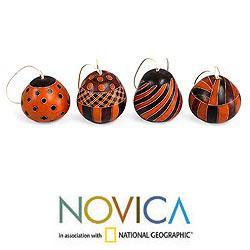 Set of 4 Dried Mate Gourd 'Orange Geometry' Ornaments (Peru)