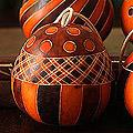 Set of 4 Dried Mate Gourd 'Orange Geometry' Ornaments (Peru)