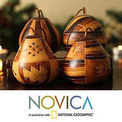 Set of 4 Dried Mate Gourd 'Natural Inca Geometry' Ornaments (Peru)