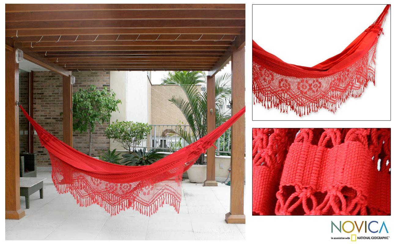 Cotton 'Recife Red' Hammock (Brazil)
