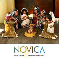 Set of 9 Handcrafted Ceramic 'Inca Christmas' Nativity Scene (Peru)