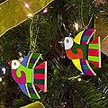 Set of 6 Pinewood 'Songbird' Ornaments (El Salvador)