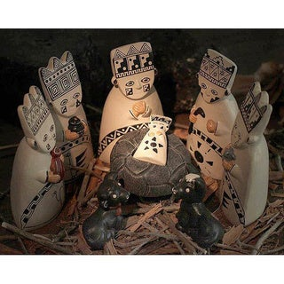 Set of 8 Ceramic 'Born to the Amazons' Nativity Scene (Peru)