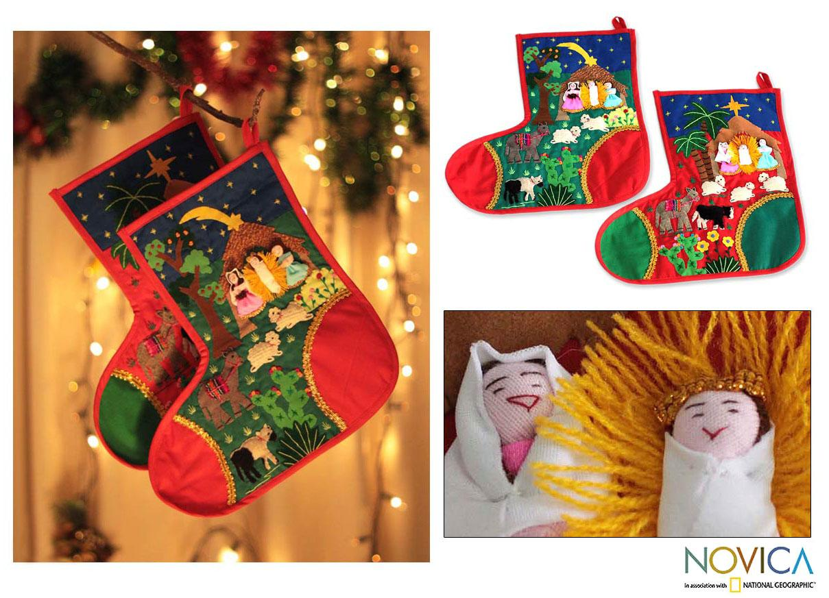 Set of 2 Cotton 'Holy Night' Applique Christmas Stockings (Peru)