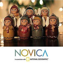 Set of 7 Ceramic 'Angel Orchestra' Ornaments (Peru)