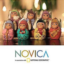 Set of 7 Handcrafted Ceramic 'Angel Choir' Ornaments (Peru)