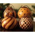 Set of 4 Dried Mate Gourd 'Natural Symmetry' Ornaments (Peru)