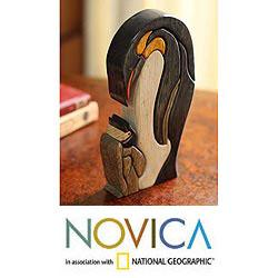 Ishpingo Wood 'Mother Penguin' Sculpture (Peru)