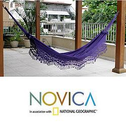 Maracuya Outdoor Garden and Patio 100% Cotton Eco Friendly Purple Hand Crocheted Macrame Edge Double Hammock (Brazil)