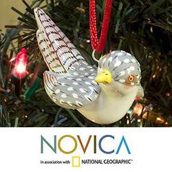 Set of 2 Handcrafted Ceramic 'Magellan Plover' Ornaments (Guatemala)