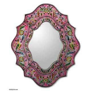 Glass 'Wild Orchids' Mirror (Peru)