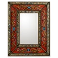 Glass Cedar Wood 'Red Cajamarca Warmth' Mirror (Peru)