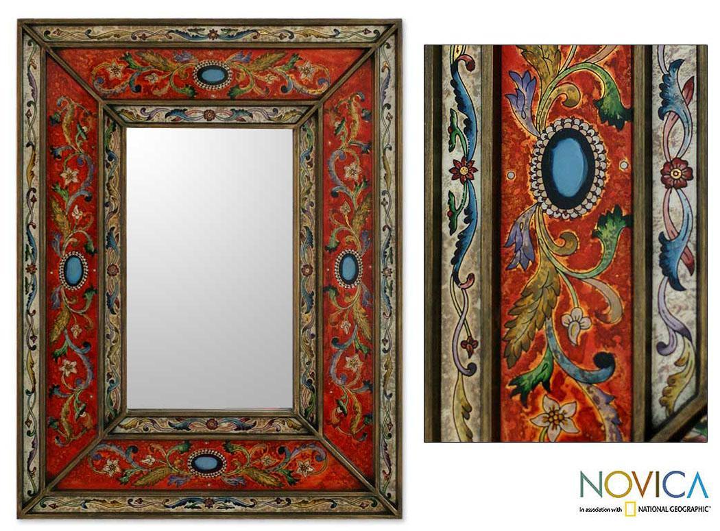 Glass Cedar Wood 'Red Cajamarca Warmth' Mirror (Peru)