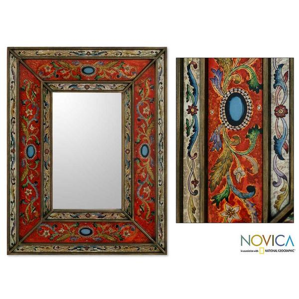 Red Cajamarca Floral Baroque Multicolor Reverse Painted Glass Global Style Decorator Gold Accent Rectangular Wall Mirror (Peru) 8564953