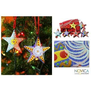 Set of 6 Ceramic 'Christmas Star' Ornaments (Guatemala)