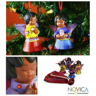 Set of 4 Ceramic 'Angels' Ornaments (Guatemala)
