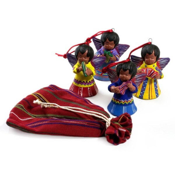 Set of 4 Ceramic 'Angels' Ornaments (Guatemala)