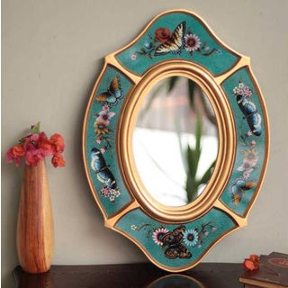 Handcrafted Glass 'Turquoise Butterfly' Mirror (Peru)