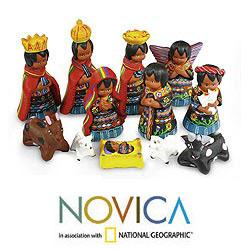 Set of 12 Ceramic 'Totonicapan' Nativity Scene (Guatemala)