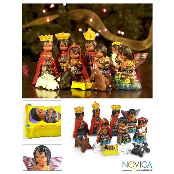 Set of 12 Ceramic 'Totonicapan' Nativity Scene (Guatemala)