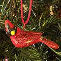Set of 2 Handcrafted Ceramic 'Cardinal' Ornaments (Guatemala)