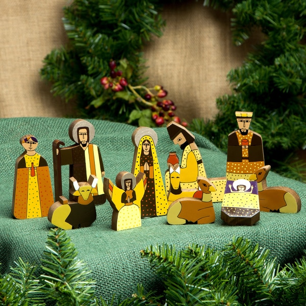 Set of 11 Pinewood 'Christmas Gift' Nativity Scene (El Salvador)