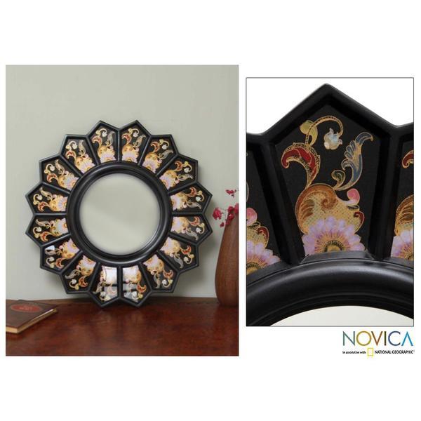 Cedar Wood Glass 'Black Sunflower Fan' Mirror , Handmade in Peru