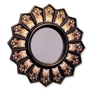 Cedar Wood Glass 'Black Sunflower Fan' Mirror , Handmade in Peru