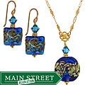 Misha Curtis Ocean Blue Hand-blown Art Glass Earring and Neckla
