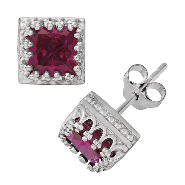 Gioelli Sterling Silver Ruby Crown Earrings