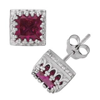Gioelli Sterling Silver Ruby Crown Earrings