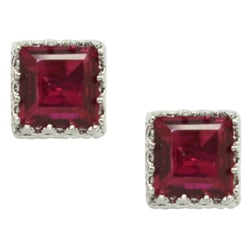 Sterling Silver Ruby Crown Earrings