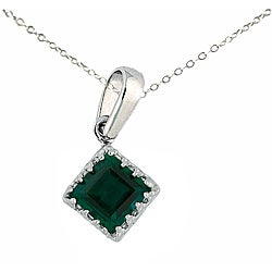 Sterling Silver Created Emerald Crown Necklace