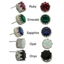 Tiara Collection Sterling Silver 8mm Round Gemstone Crown Earrings