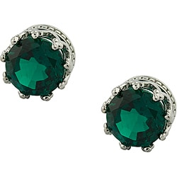 Sterling Silver Emerald Crown Earrings