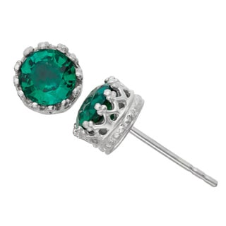 Gioelli Sterling Silver Simulated Emerald Crown Earrings